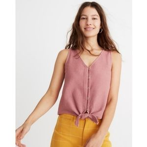 Madewell Texture & Thread Tie Front Tank Top | XL